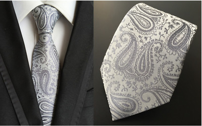 Tie Black Silk Mens Paisley Woven Classic 2018 Wedding Necktie JACQUARD New 017#