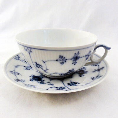 BLUE FLUTED PLAIN Royal Copenhagen Cup & Saucer NEW NEVER USED made in Denmark