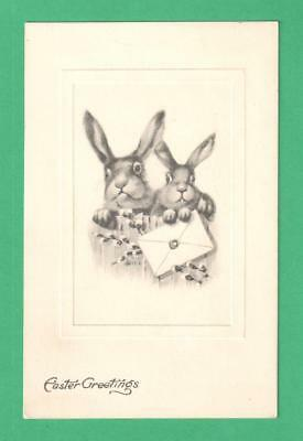 1912 Easter Greetings Postcard Rabbits Fence Wax-Sealed Envelope Pussy Willow