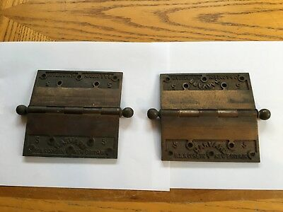 "2 Large Antique Harvard  5"" Heavy Solid Brass Corbin Hinges"