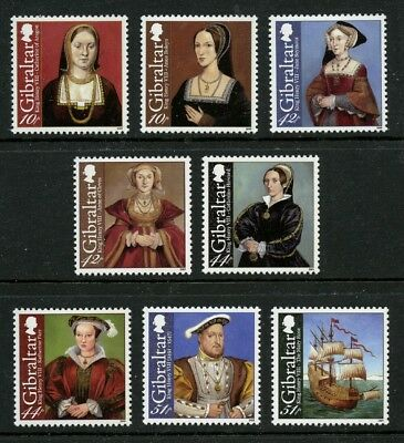 king henry viii 8 mnh stamps 2009 gibraltar 1173 80 anne of cleves