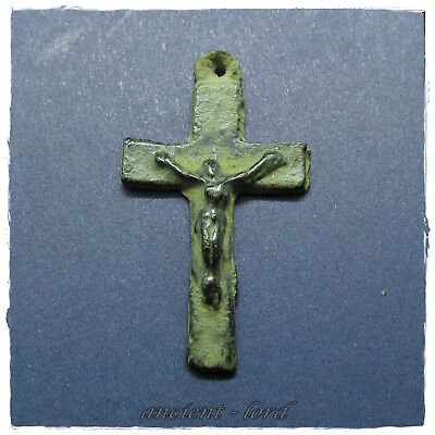 **  CROSS ** ANCIENT BYZANTINE BRONZE PENDANT!!! crucifixion of Christ