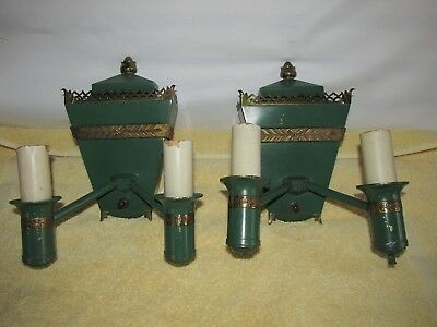 Unusual Pair of Brass & Metal Green Sconces for Restoration,  Reclaimed