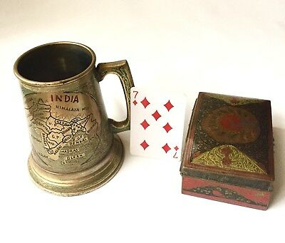 Rare Pair Antique Asian Royal Engraved Copper-Glass Mug & Peacock Cigarette Box