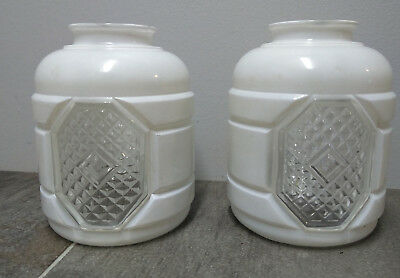 Pair VIntage White Clear Frosted Glass Bathroom Sconce Globe Shade 1 3/4 fitter