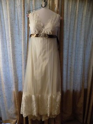 Claire Pettibone Wedding Dress Size 12 Queen Anne's Lace Downton Abby Garden Wed