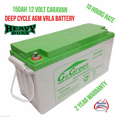 12V 150Ah Caravan Battery 42Kg Deep Cycle Agm Vrla Solar Led Camping Fridge New
