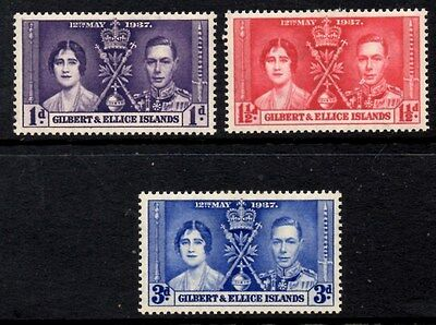 (Ref-9394) Gilbert & Ellice Islands 1937 Coronation SG.40/42  Mint (Hinged)