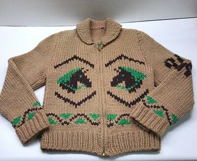 Vintage Zippered Hand Knit Horse Motif Sweater Youth Unsure Of Size