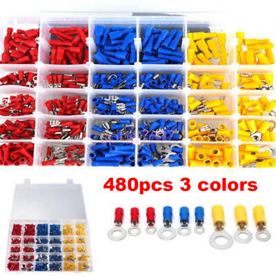 480pcs Car Assorted Insulated Electrical Audio Wiring Connector Crimp Terminal