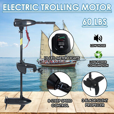 60LBS Electric Trolling Outboard Motor Inflatable Boat Fishing Marine 12V Engine