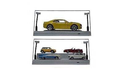 1:24/1:43 Model Car Scale Led Lighted Clear Black Base Display Case - Usb