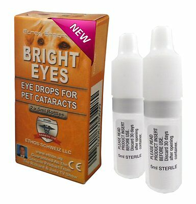 Ethos Bright Eyes Cataract Eye Drops For Dogs & Pets 1 Box  2 x 5 ML Bottles
