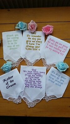 Ladies/Gents Personalised embroidered BUTTERFLY CORNER Hankie Mum-Dad  wedding