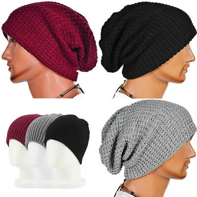 Men Women Winter Slouch Skull Oversize Hat Knit Ski Beanie Crochet Baggy Cap AU