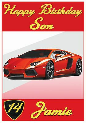 Personalised Lamborghini Inspired Birthday Cards (5 Colours) - Stunning !