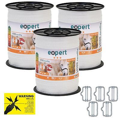 600m 20mm Electric Fence Poly Tape Steel 5x0.16 White Horse Pony Sheep