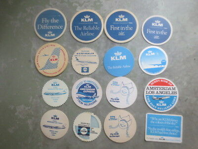 16 Different KLM  AIRLINES Issued  Advertising  COASTERS  1960,s - 2000,s