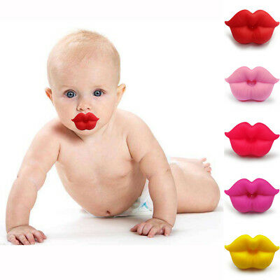 Funny Pacifier Teether Orthodontic Safe Soother Dummy Lip Baby Silicone Nipple B