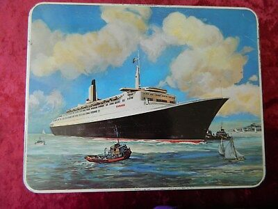 Old  Large 1967  Huntley & Palmers Cunard  Biscuits Ship Tin  Queen  Elizabeth 2