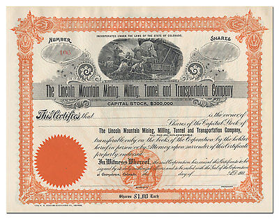 Lincoln Mountain Mining, Milling, Tunnel & Transportation Company Stock