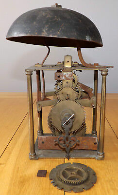 Antique Lantern / Longcase Birdcage Clock Movement with Bell - For Spares/Repair