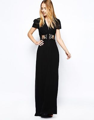Jarlo Kelly Black Party Wedding Evening Maxi Dress Size Uk8 Eu36 Us4 Rrp £85