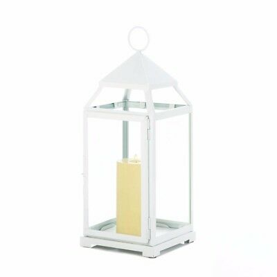 Lot of 4 Large White Modern Contemporary Pillar Candle Lanterns 18 inches high