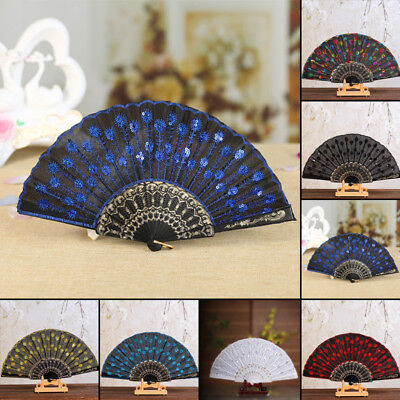 Retro Spanish Style Dance Wedding Party Lace Silk Folding Hand Held Flower Fan