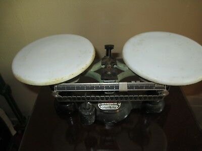 Nice Vintage Cast Iron Balance Scale Porcelain Plates  ~ Ohaus Fisher Scientific