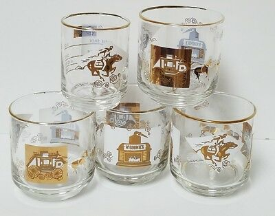 Vintage McCormick's Barware Glasses Stagecoach Pony Express Distillery Missouri