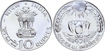 COIN India 10 Rupees 1971 B KM# 186 Silver FAO Prooflike UNC