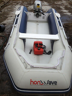 Honwave Inflatable Dinghy Boat T38 Air-V-Floor and Honda 10Hp Outboard + Trailer