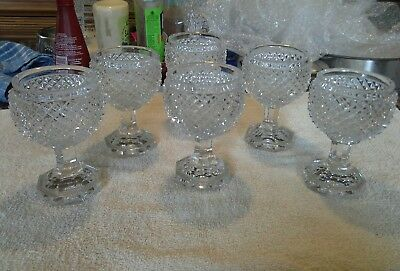 "Antique ""Rare"" Late 18th Early 19th Century Irish Cut Lead Crystal Port Glasses"