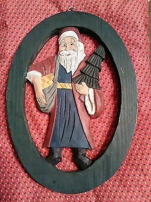 Folk Art Hand Crafted Old World Santa 3D Hand Painted Oval Wood Hanger