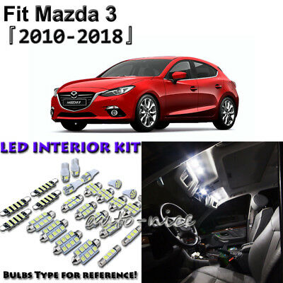 7 x White Interior LED Light Package Kit for Mazda 3 Sedan Hatchback 2010 - 2018