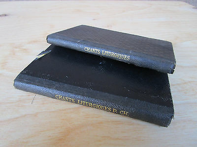 Pair Of Small Antique Vintage Books 1800s Les Principaux Chants Liturgiques