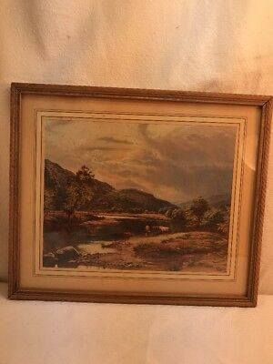 Vtg 30-40's Lithograph print Cattle Cows Mountain Stream Country Farm Pic framed