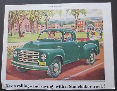 1951 STUDEBAKER Pick-up Truck Print Ad Illustration