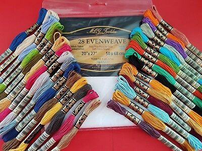 Cross Stitch Evenweave/Linen and 30 DMC threads Joblot,Bundle.Picked to order.