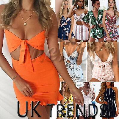 UK Womens Holiday Mini Playsuit Ladies 2 Pcs Set Summer Beach Dress Size 6 - 14
