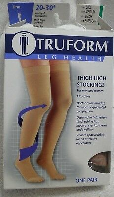 Truform Closed Toe Thigh High 20-30 mmHg Compression Stockings Dot Top Beige Med