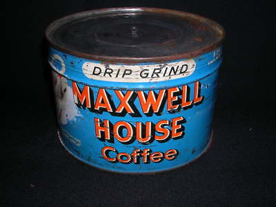 Vintage Maxwell House Drip Grind Coffee can 1 Pound Home decor True vintage lotb