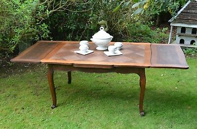 French Vintage Louis XV Style Parquet Top Extending Table,