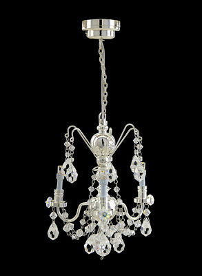 Silver Crystal Chandelier 3arms battery LED LAMP Dollhouse miniature light switc