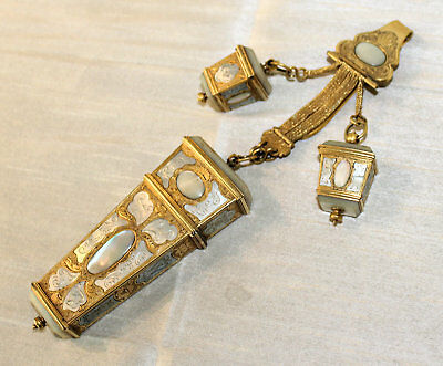 Antique ca1735 CHATELAINE, Gilded, MOP, Needlework Etui with Implements, Thimble