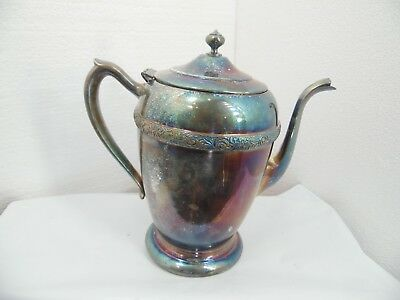 antique vintage silver tea pot very old  national silver brand #4001