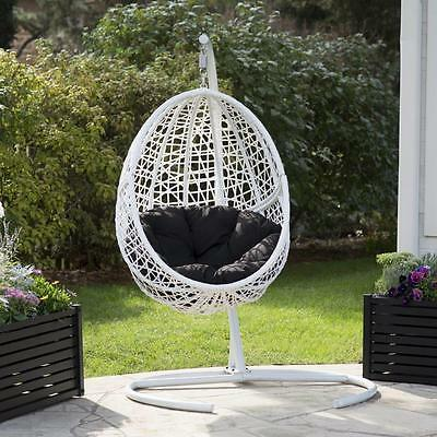 Egg Hanging Patio Chair Outdoor Furniture Swing White Resin Wicker Cushion  Frame