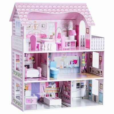 """28"""" Dollhouse 3 Levels House with 5 Rooms And Furniture, Pink"""