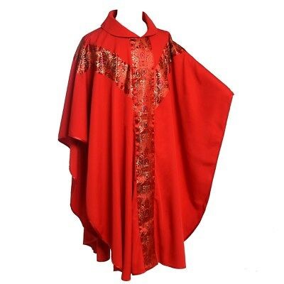 Catholic Pastor Priest Red Chasuble Church Christian Clergy Eucharist Robe
